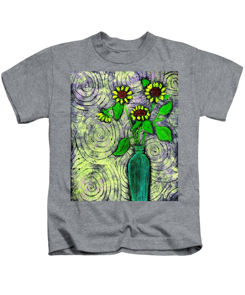 Sunflowers Kids T-Shirt featuring the painting Sunflowers In A Green Vase by Wayne Potrafka