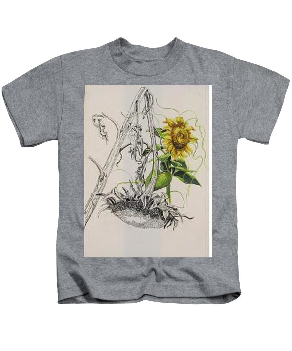 Large Sunflowers Featured Kids T-Shirt featuring the painting Sunflowers by Wanda Dansereau