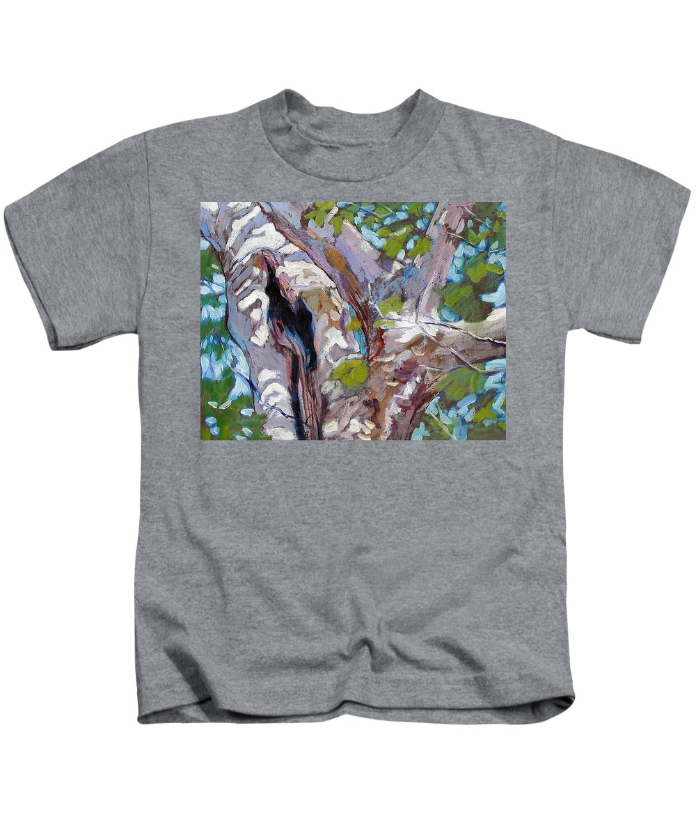Tree Kids T-Shirt featuring the painting Sunlight On Sycamore by John Lautermilch