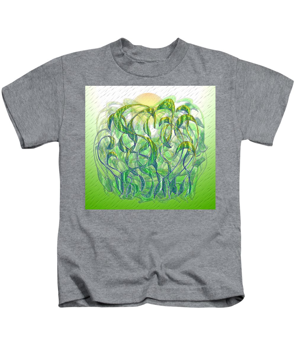 Surrealism Kids T-Shirt featuring the digital art Sunlight On Wet Grass by Mark Sellers