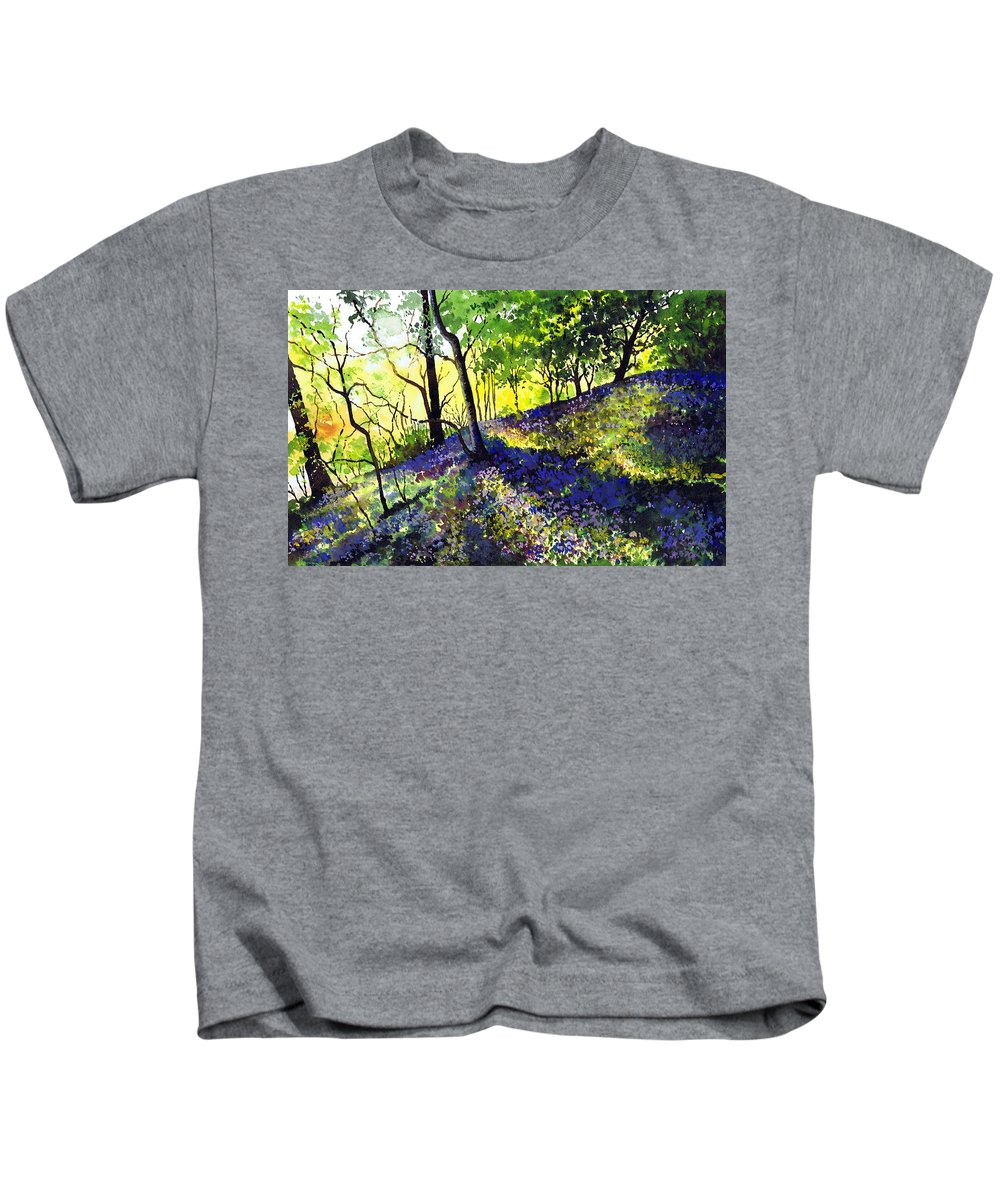 Bluebell Wood Kids T-Shirt featuring the painting Sunlit Bluebell Wood by Paul Dene Marlor
