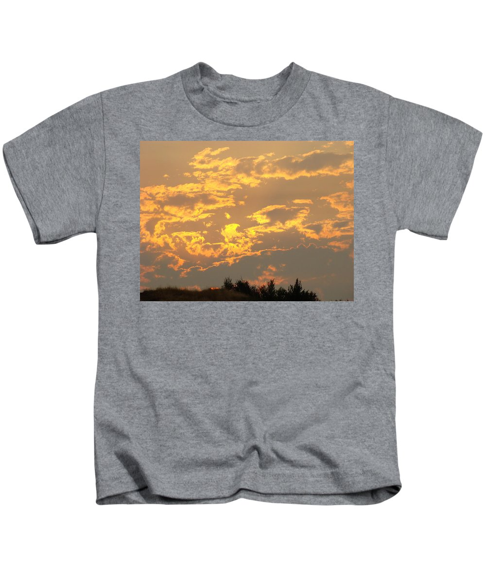 Sunset Kids T-Shirt featuring the photograph Sunlit Clouds Sunset Art Prints Gifts Orange Yellow Sunsets Baslee Troutman by Baslee Troutman