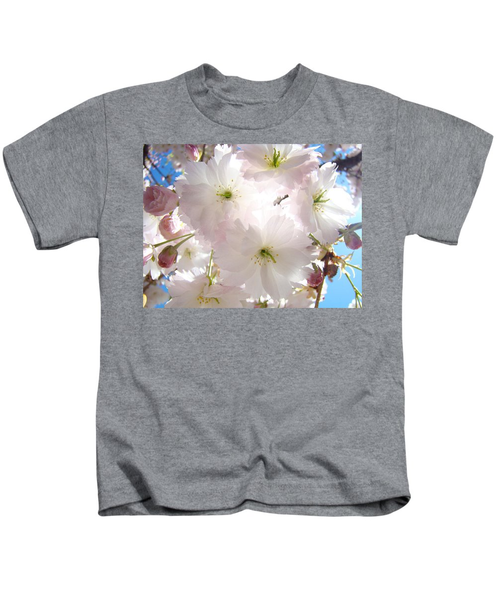 Blossom Kids T-Shirt featuring the photograph Sunlit Pink Blossoms Art Print Spring Tree Blossom Baslee by Baslee Troutman