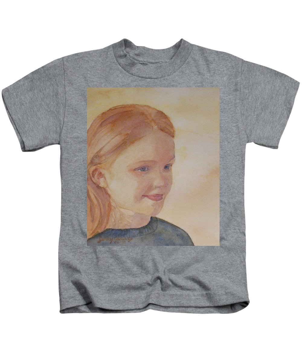 Girl Kids T-Shirt featuring the painting Sunnie Birdie by Jenny Armitage