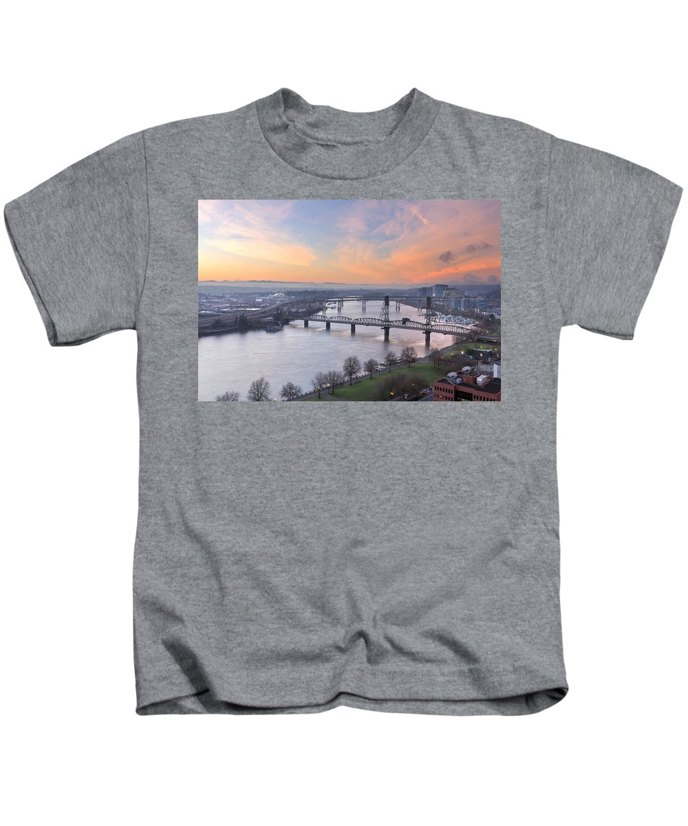 Portland Kids T-Shirt featuring the photograph Sunrise Over Willamette River By Portland by David Gn