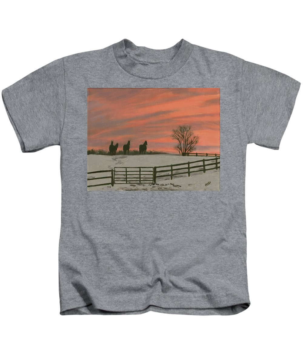 Sunrise Kids T-Shirt featuring the painting Sunrise Silhouettes by Deborah Butts