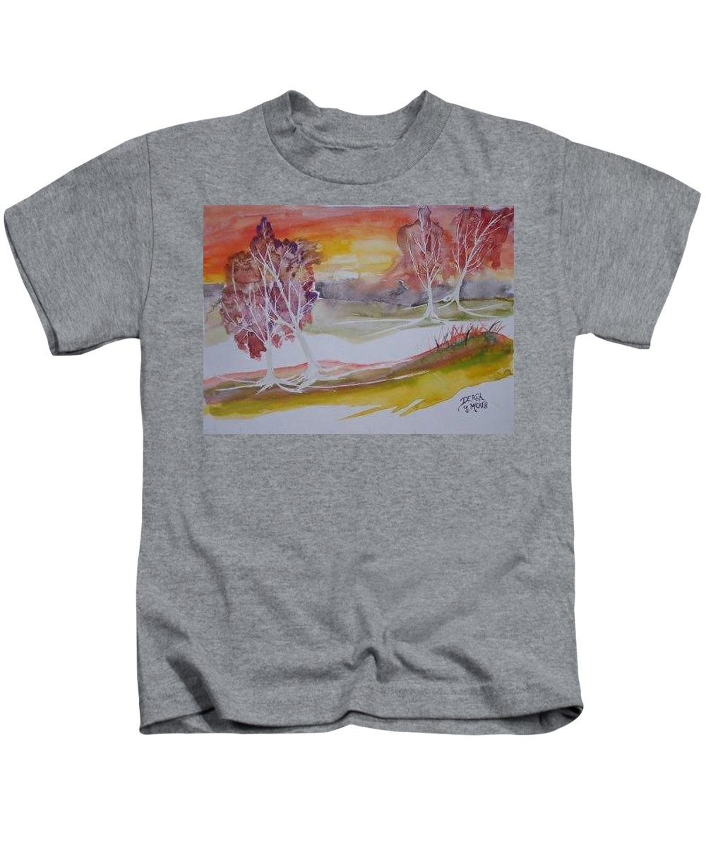 Impressionistic Kids T-Shirt featuring the painting SUNRISE surreal modern landscape painting fine art poster print by Derek Mccrea