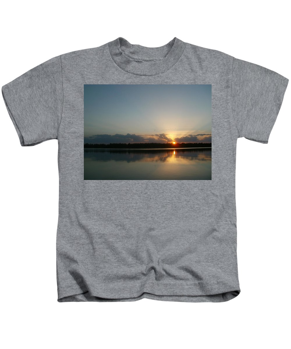 Landscape Kids T-Shirt featuring the photograph Sunset And Birds by Constantin Musat