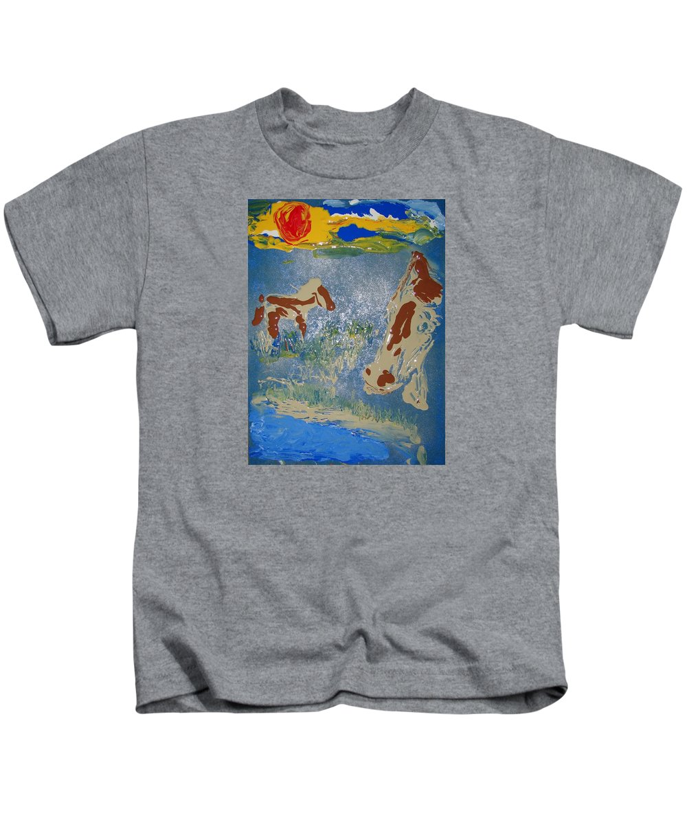 Impressionism Kids T-Shirt featuring the painting Sunset At The Watering Hole by J R Seymour