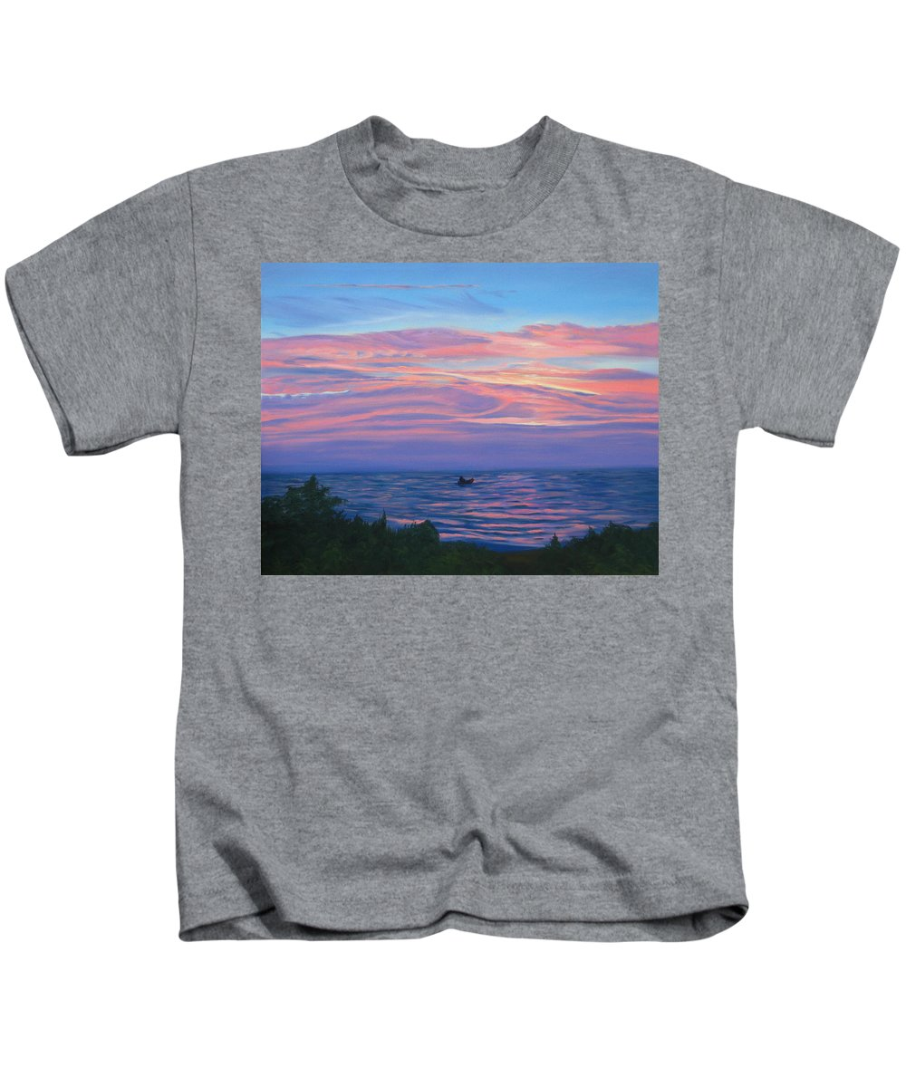 Seascape Kids T-Shirt featuring the painting Sunset Bay by Lea Novak