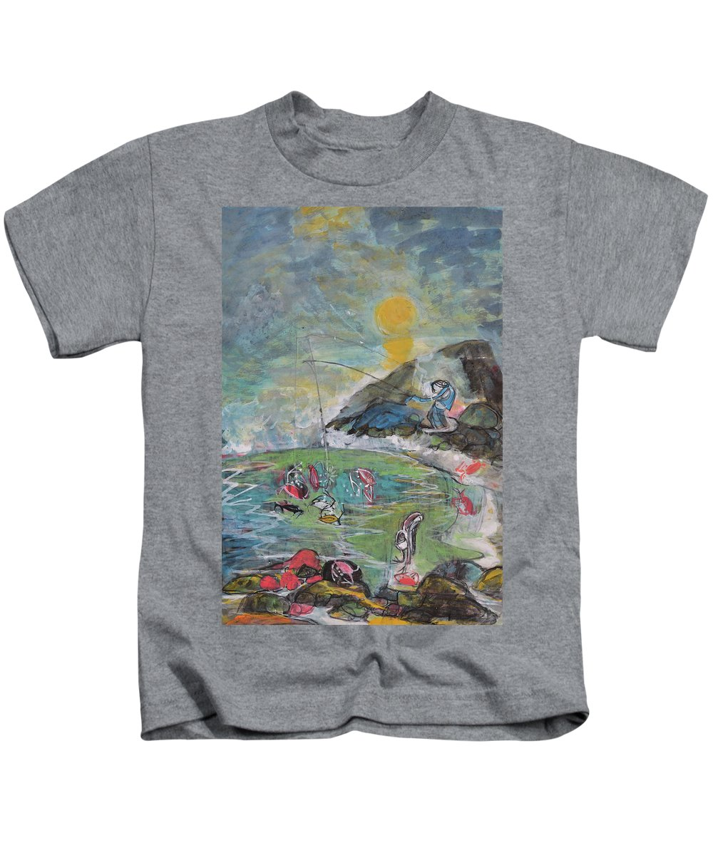 Sunset Kids T-Shirt featuring the drawing Sunset by Chinaart Find