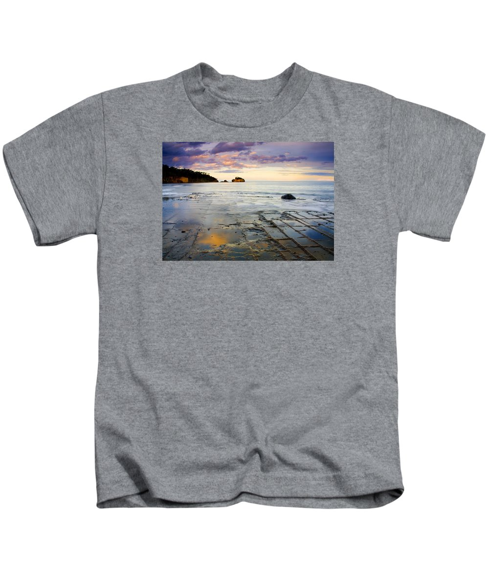 Tesselated Pavement Kids T-Shirt featuring the photograph Sunset Grid by Mike Dawson