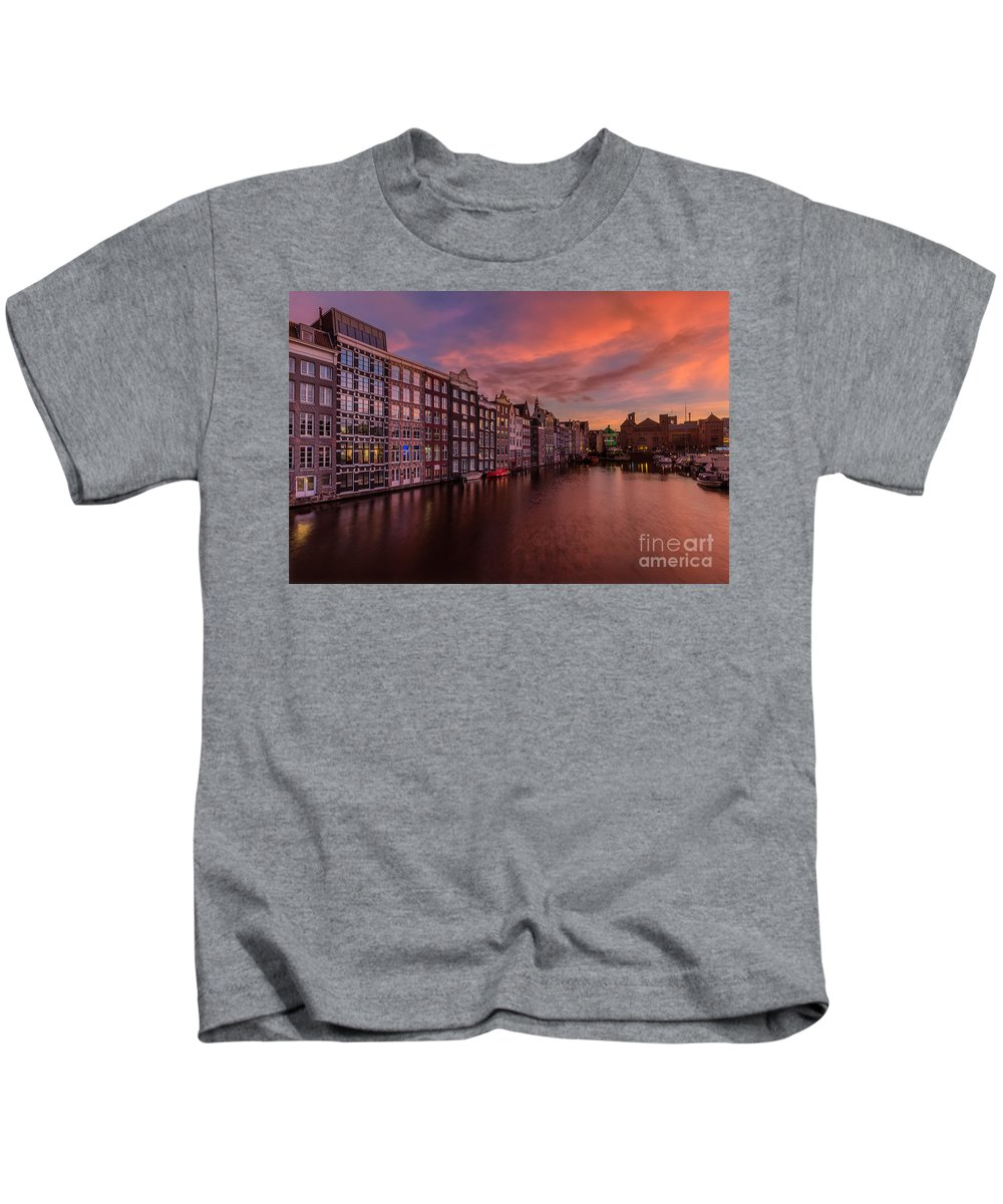 Amsterdam Kids T-Shirt featuring the photograph Sunset In Amsterdam by Costas Ganasos