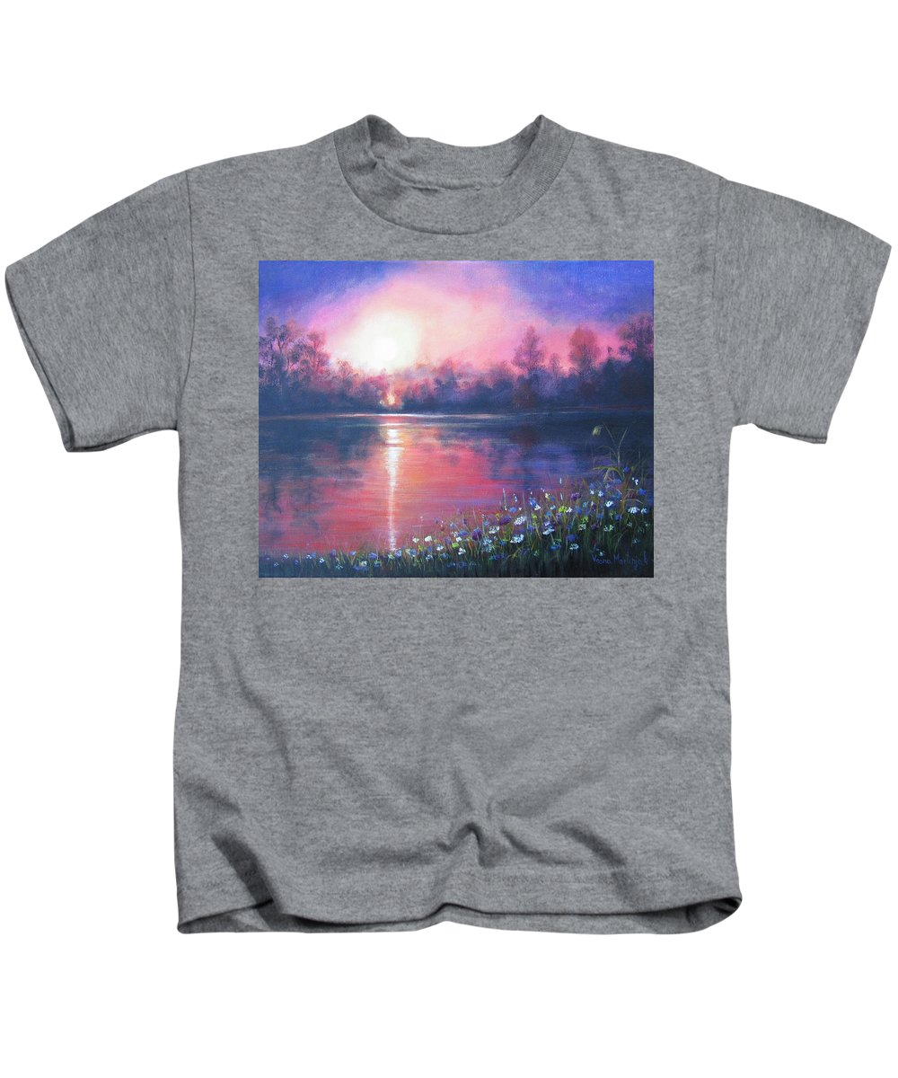 Landscape Kids T-Shirt featuring the painting Sunset On The River by Vesna Martinjak
