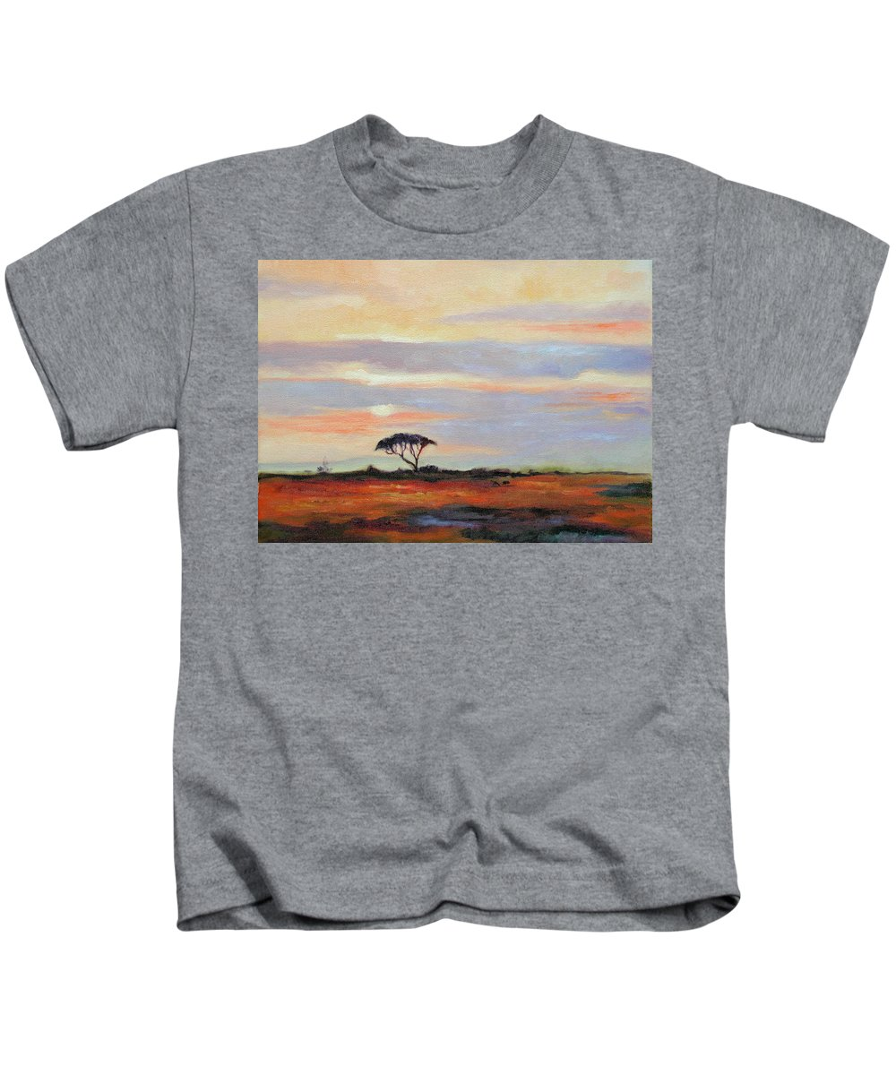 Landscape Kids T-Shirt featuring the painting Sunset On The Serengheti by Ginger Concepcion