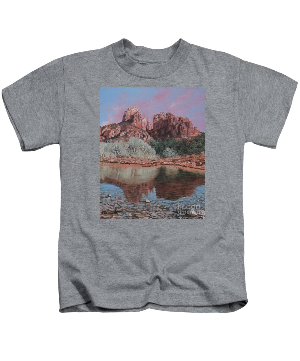 Red Rocks Of Sedona Kids T-Shirt featuring the painting Sunset Over Red Rocks Of Sedona by Barbara Barber