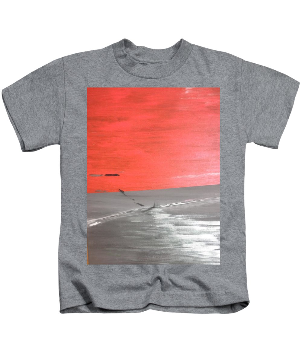 Red Kids T-Shirt featuring the painting Sunset by Solenn Carriou
