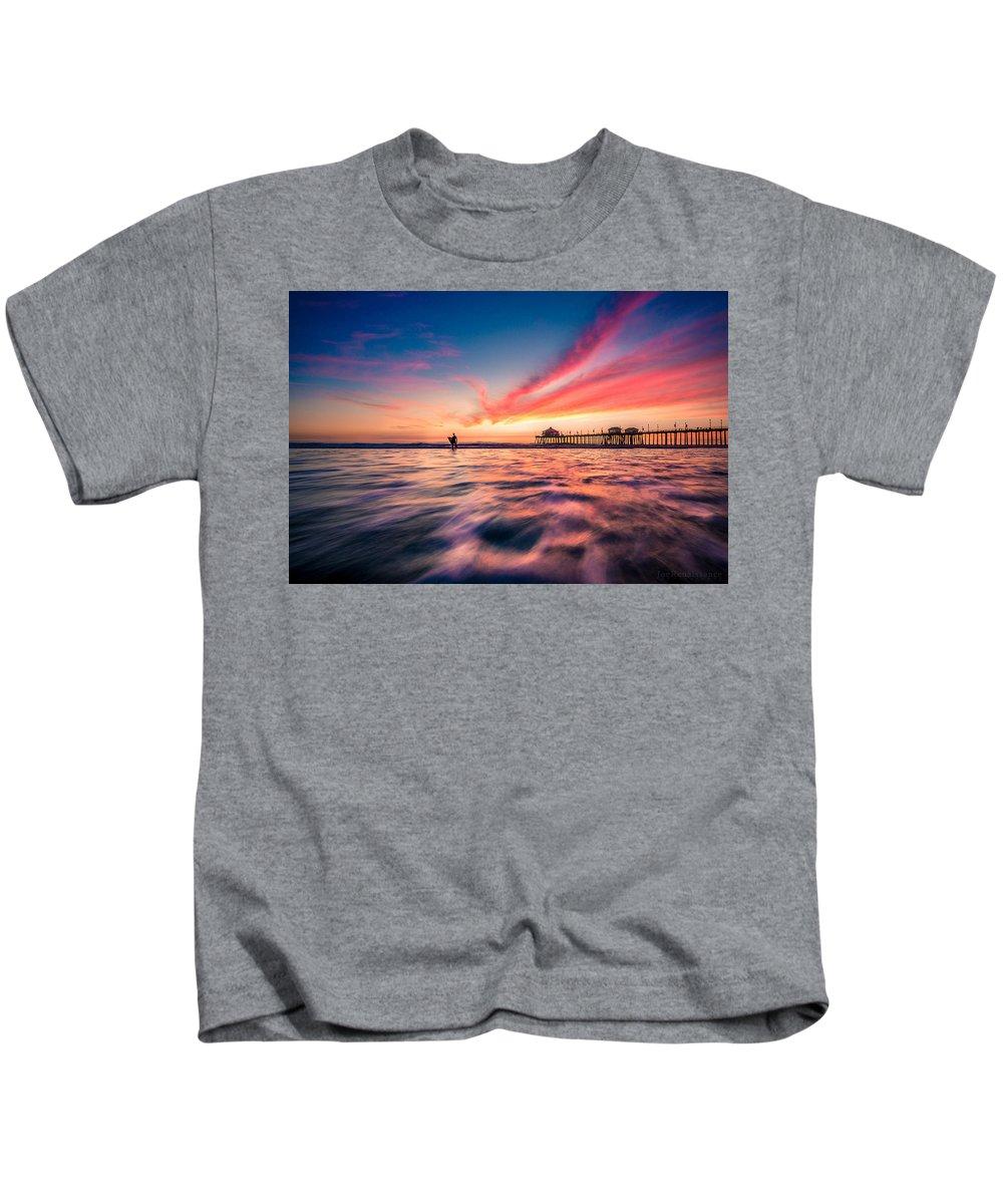 Seascape Kids T-Shirt featuring the photograph Sunset Surfer by Joe Renaissance