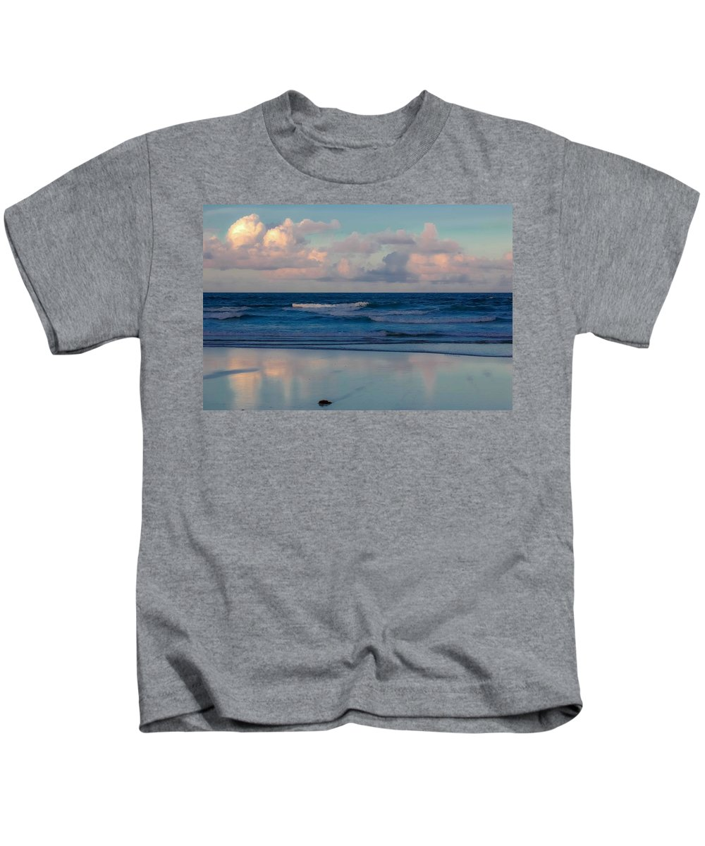 Ocean Kids T-Shirt featuring the digital art Sunset Tides by DigiArt Diaries by Vicky B Fuller