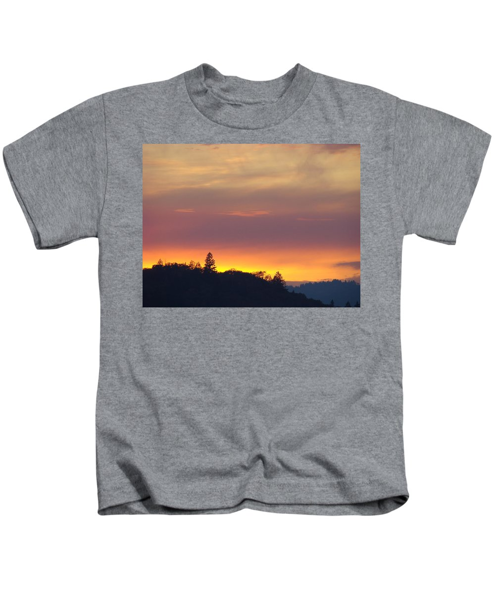 Sunset Kids T-Shirt featuring the photograph Sunset Yellow Orange Purple Sunset Giclee Art Prints Baslee Troutman by Baslee Troutman
