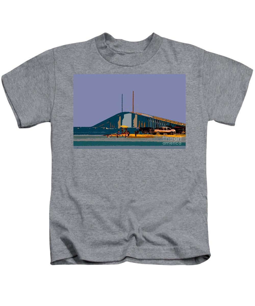 Sunshine Skyway Bridge Kids T-Shirt featuring the photograph Sunshine Skyway by David Lee Thompson