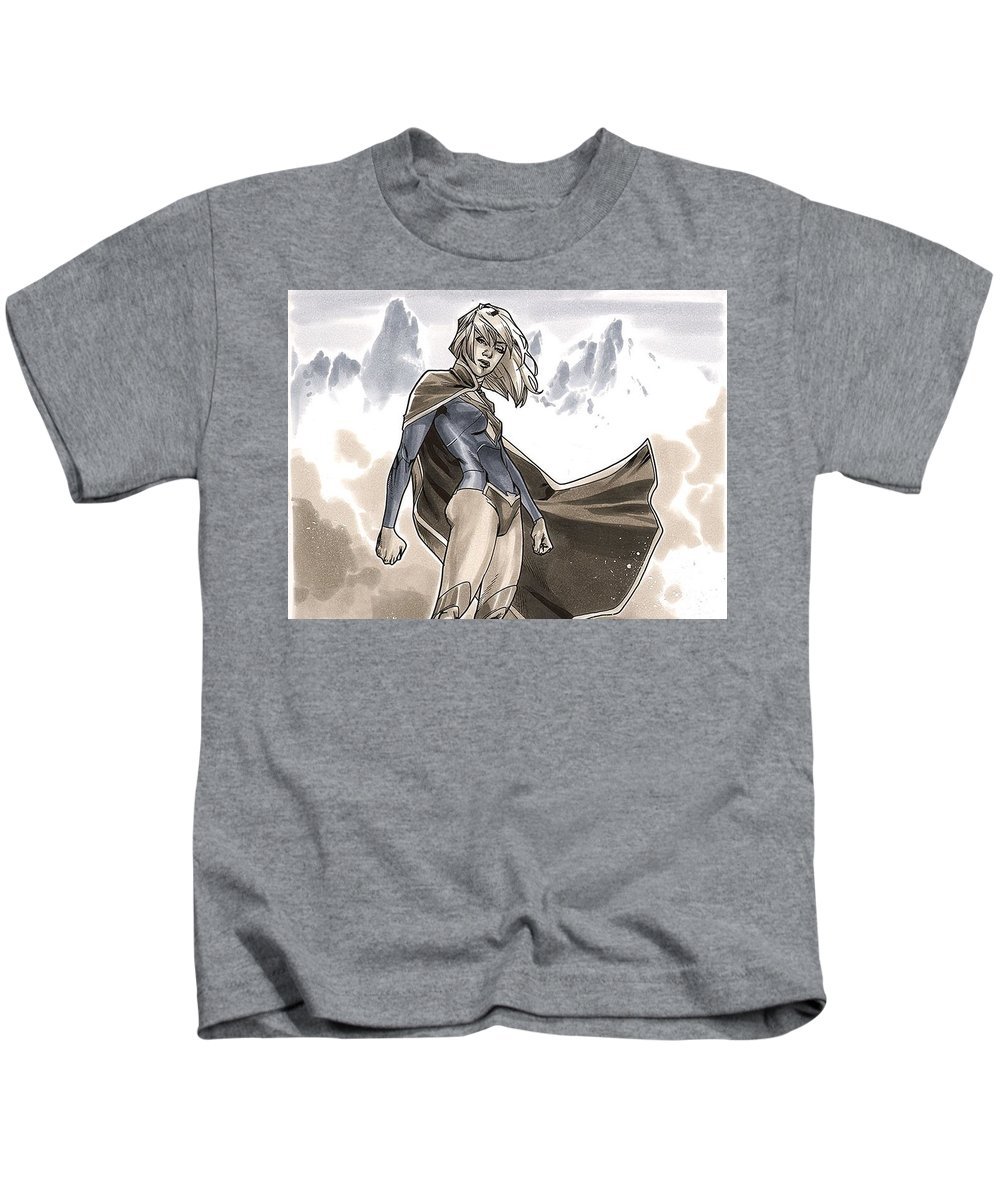 Supergirl Kids T-Shirt featuring the digital art Supergirl by Dorothy Binder