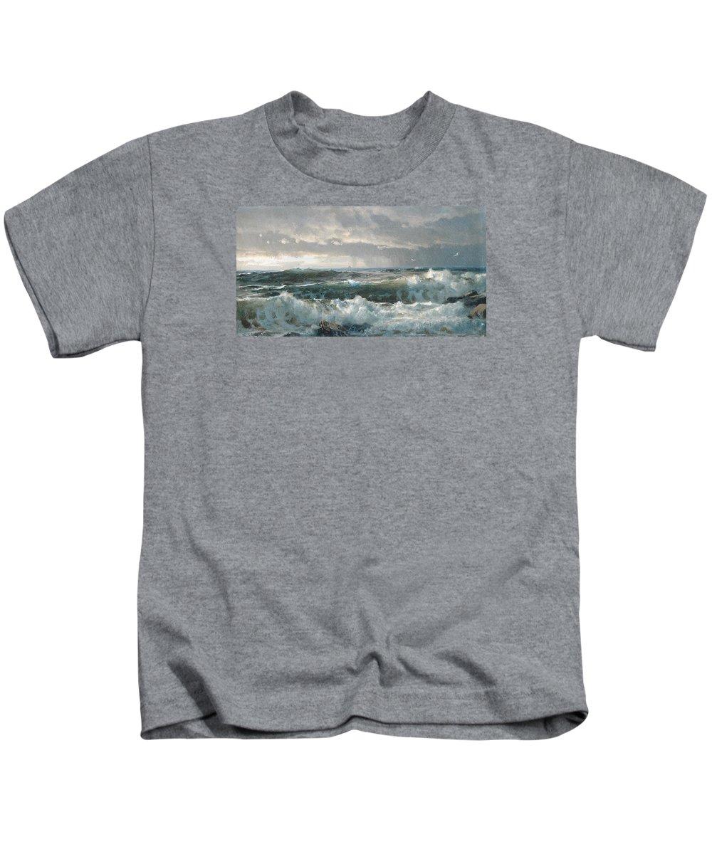 Winslow Homer Kids T-Shirt featuring the digital art Surf On The Rocks by Newwwman