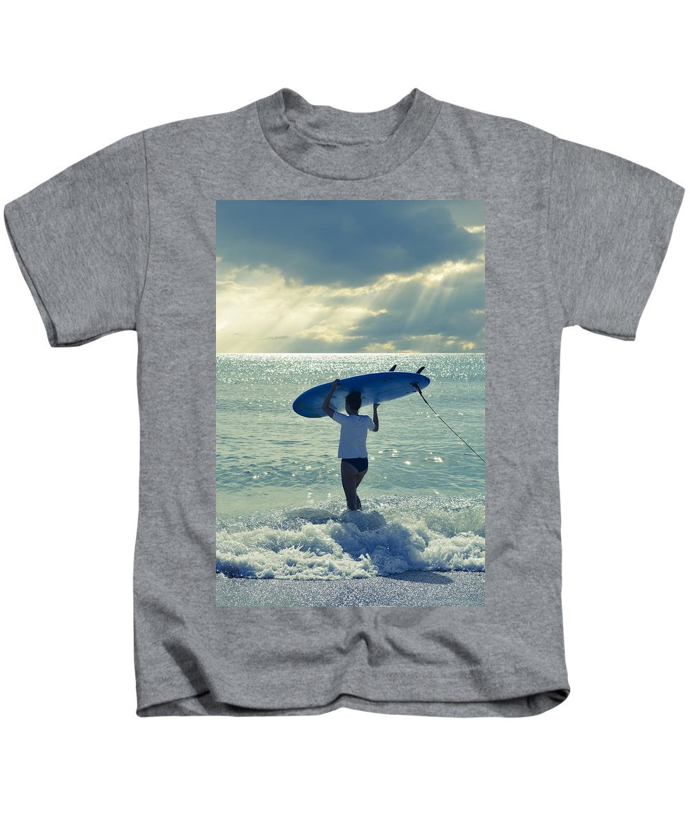 Surfer Girl Kids T-Shirt featuring the photograph Surfer Girl by Laura Fasulo