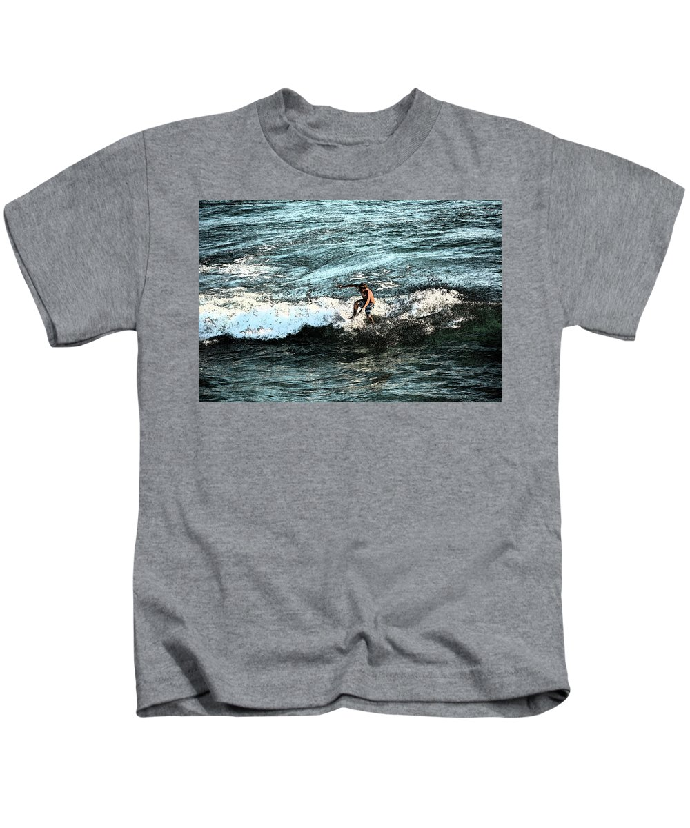 Surfer Kids T-Shirt featuring the photograph Surfer On Wave by Gabe Aguilar