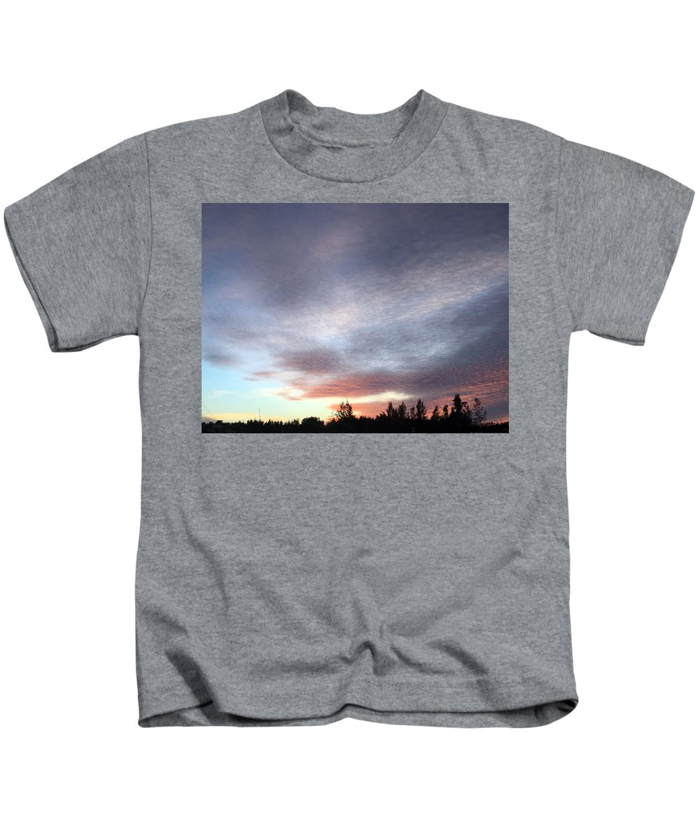 Clouds And Sky Kids T-Shirt featuring the photograph Suspenseful Skies by Audrey Robillard