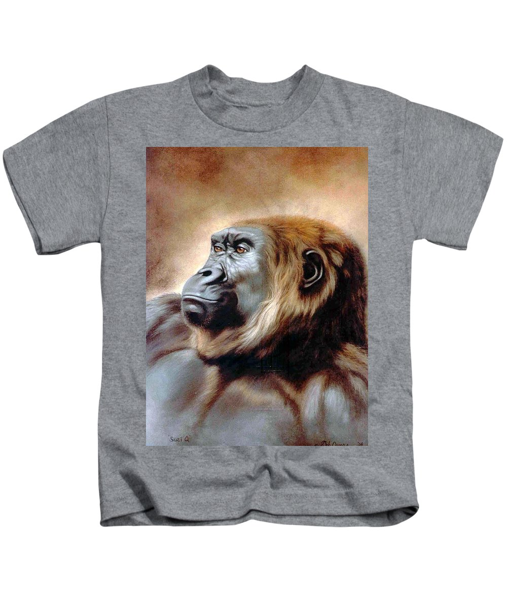Gorilla Kids T-Shirt featuring the painting Suzie Q by Deb Owens-Lowe