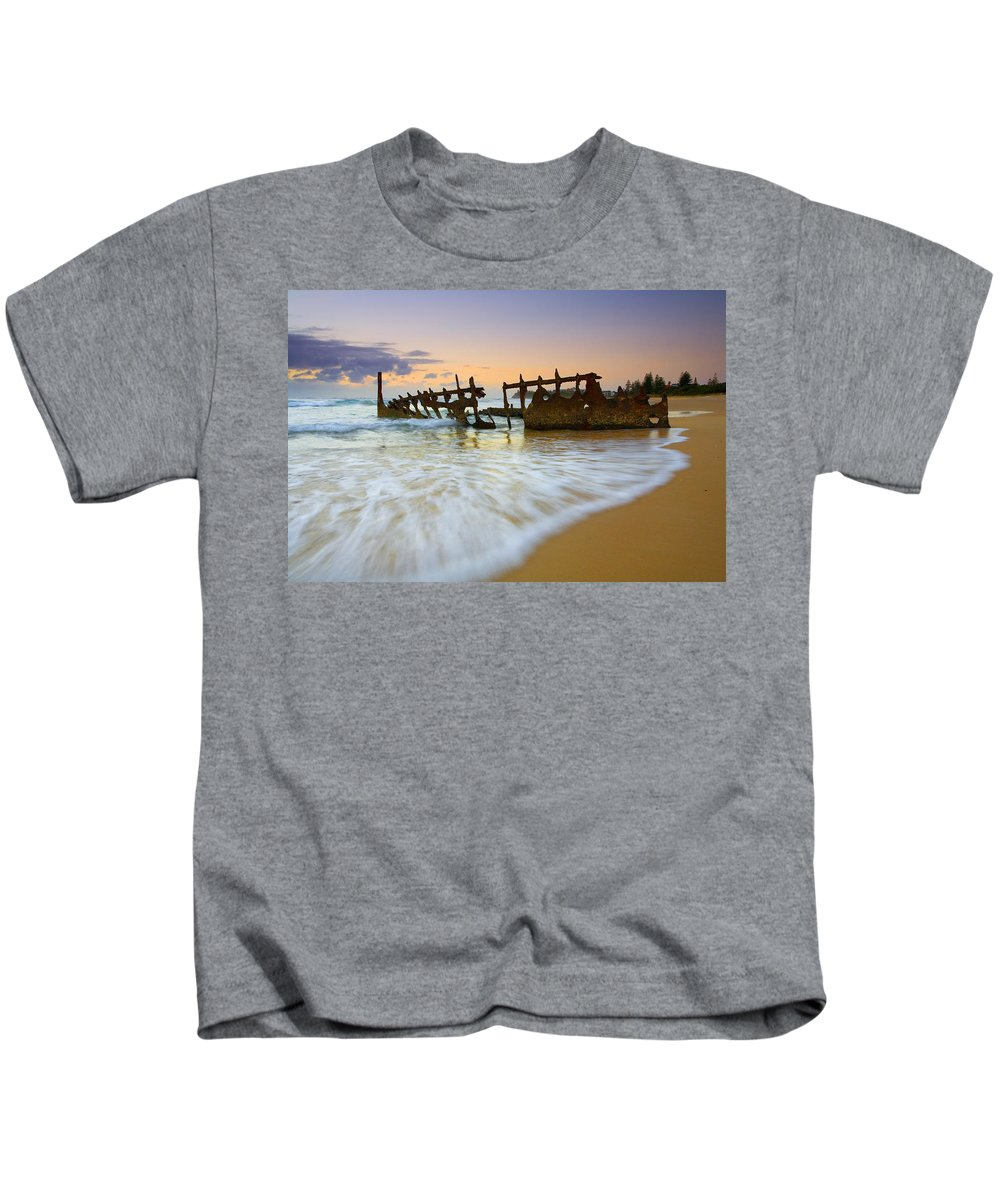 Shipwreck Kids T-Shirt featuring the photograph Swallowed By The Tides by Mike Dawson