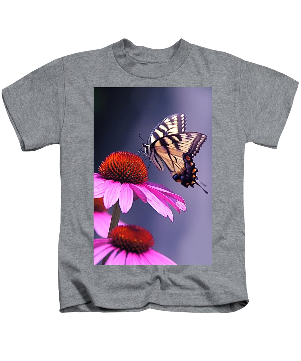 Eastern Kids T-Shirt featuring the photograph Swallowtail And Coneflower by Byron Varvarigos