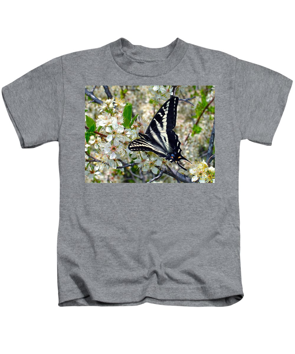 Butterfly Kids T-Shirt featuring the photograph Swallowtail And Plum Blossoms by Karon Melillo DeVega