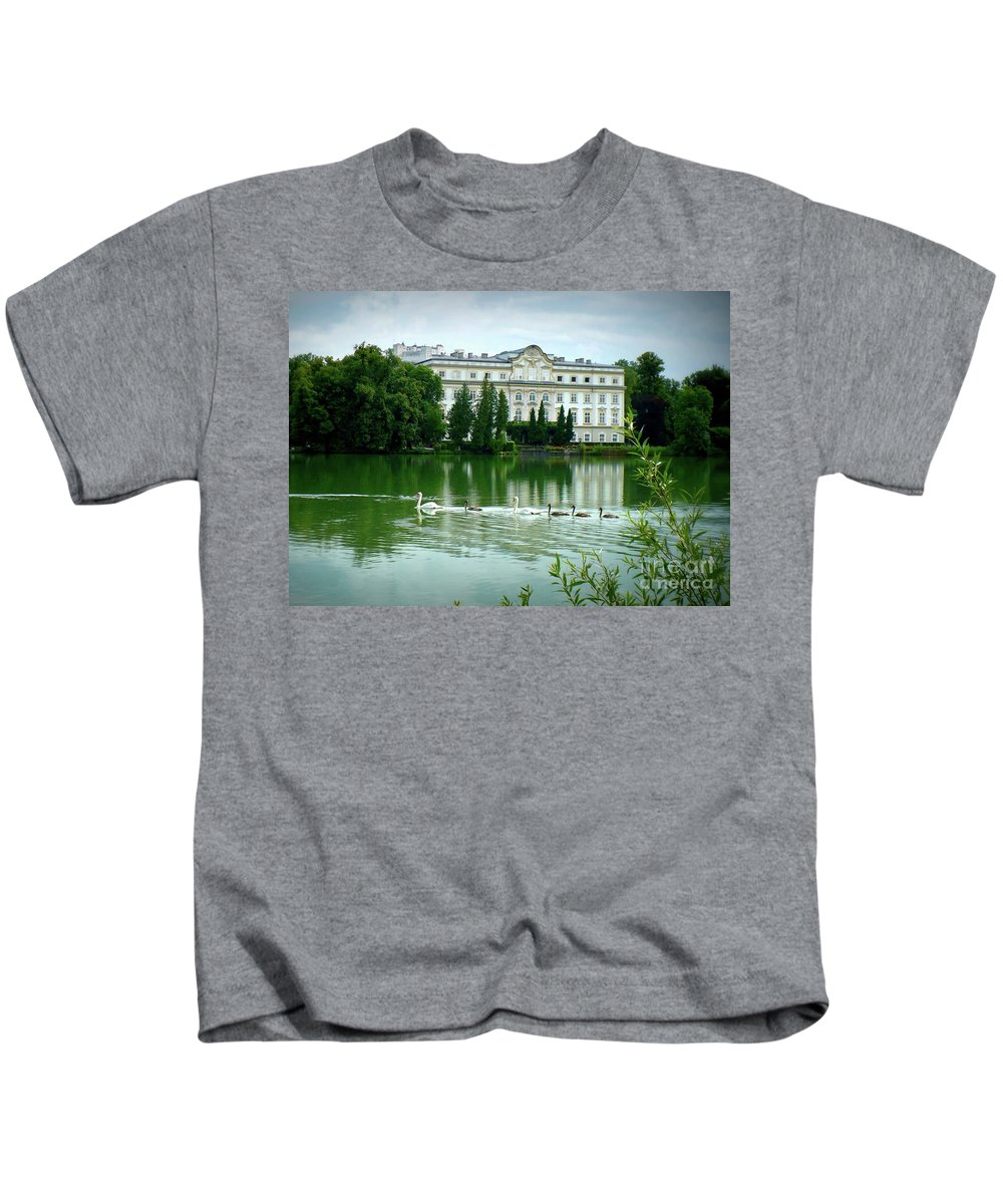 Austrian Lake Kids T-Shirt featuring the photograph Swans On Austrian Lake by Carol Groenen