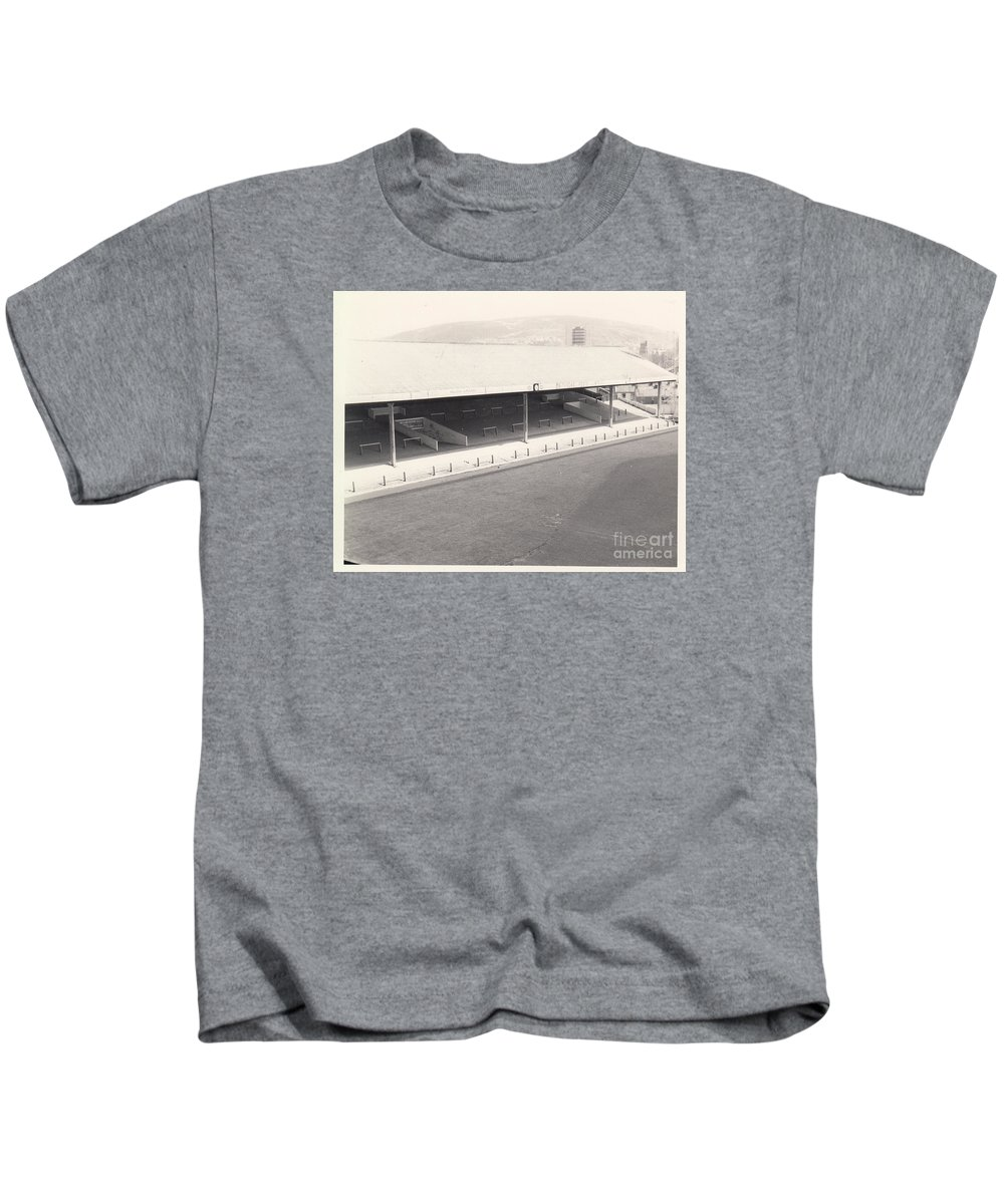 Kids T-Shirt featuring the photograph Swansea - Vetch Field - South Stand 1 - Bw - 1960s by Legendary Football Grounds