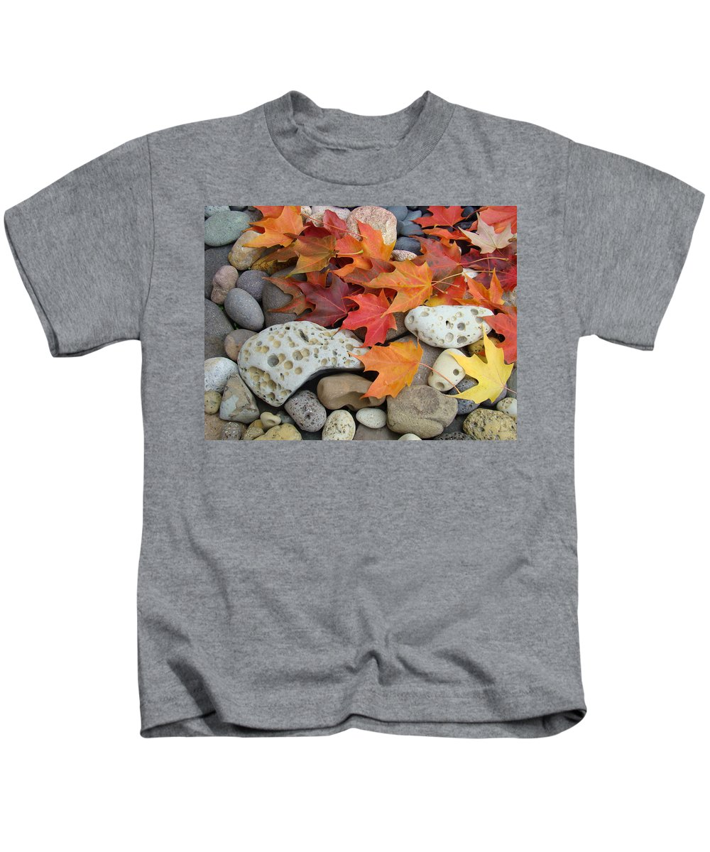 Art Kids T-Shirt featuring the photograph Sweet Autumn 1 Autumn Leaves Rock Designs Photography Digital Art Prints by Baslee Troutman