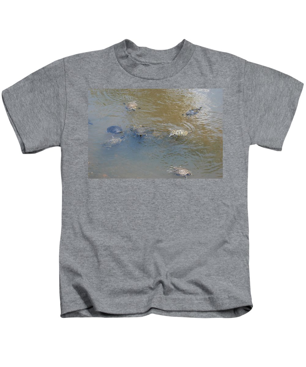 Water Kids T-Shirt featuring the photograph Swimming Turtles by Rob Hans