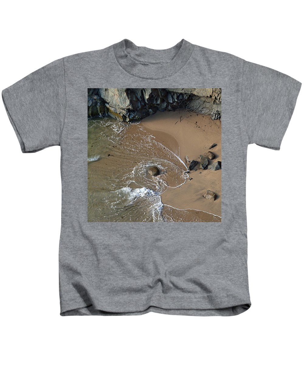 Big Sur Kids T-Shirt featuring the photograph Swirling Surf And Rocks by Charlene Mitchell
