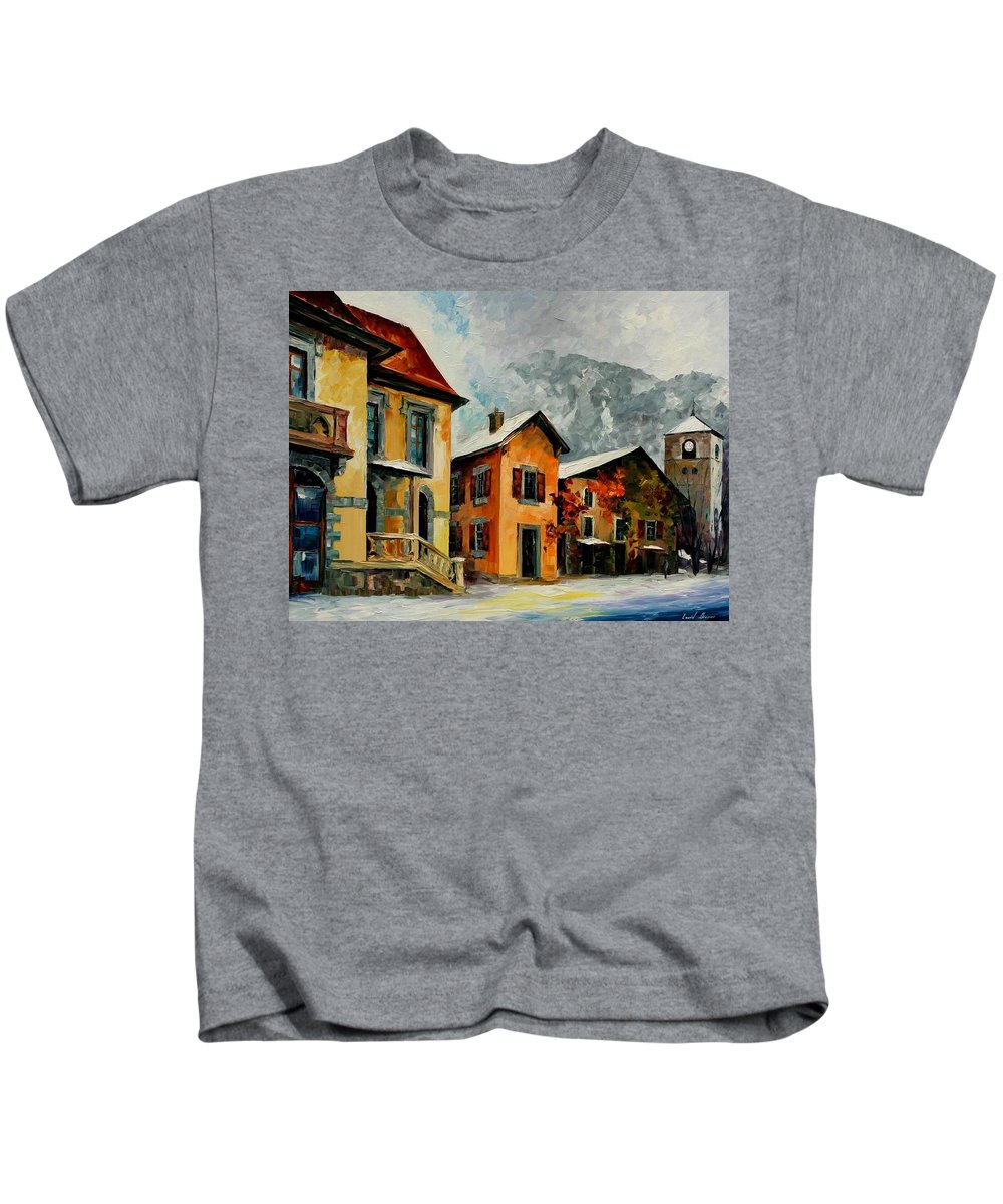 Afremov Kids T-Shirt featuring the painting Switzerland - Town In The Alps by Leonid Afremov