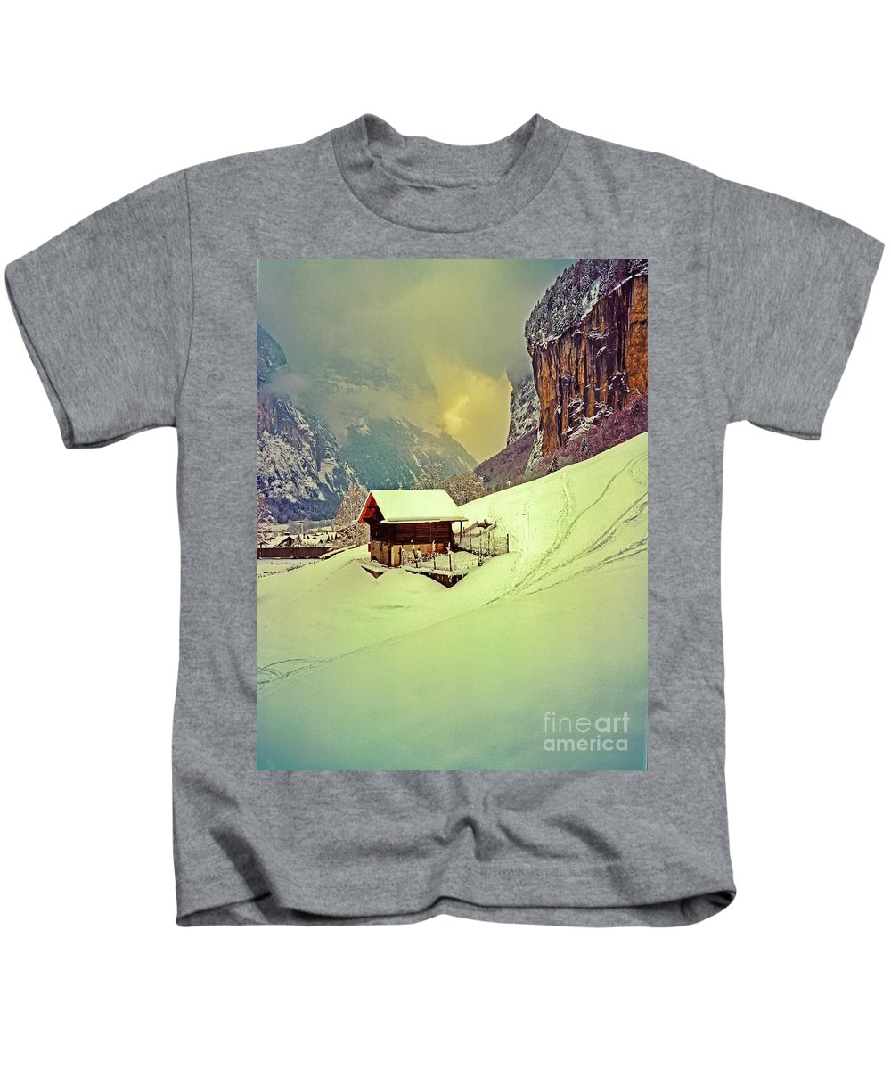 Switzerland Kids T-Shirt featuring the photograph Switzerland Alps Grutschap Alpine Meadow Winter by Tom Jelen