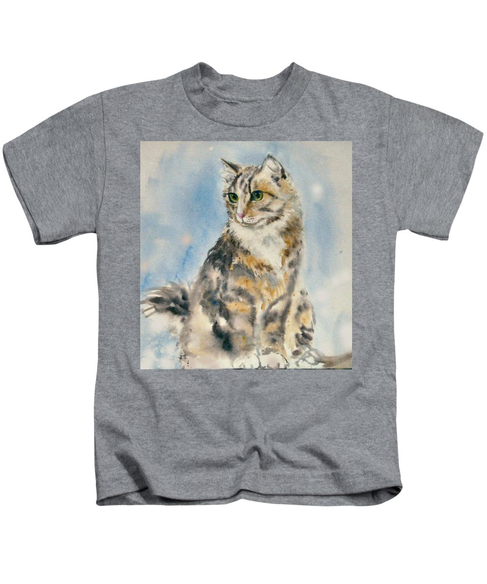 Cat Painting. Original.tabby Cat Kids T-Shirt featuring the painting Tabby Cat by Frances Gillotti