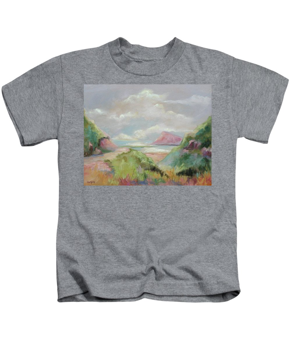 Seascape Kids T-Shirt featuring the painting Taiwan Inlet by Ginger Concepcion