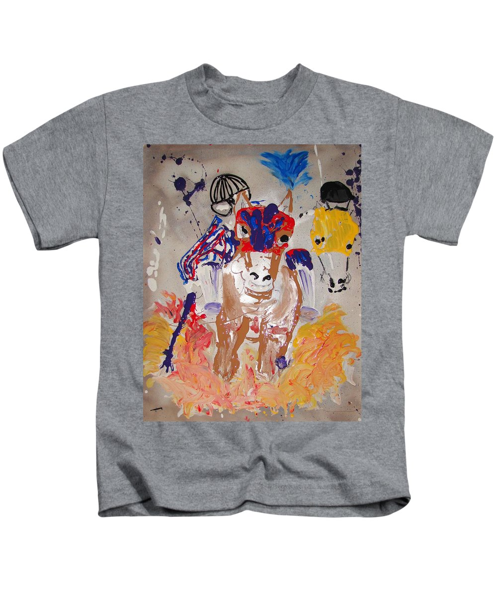 Horse Kids T-Shirt featuring the mixed media Taking The Lead by J R Seymour