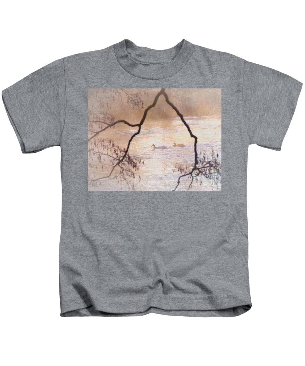 Tales Kids T-Shirt featuring the photograph Tales From The Riverbank Iv by Robert Brown