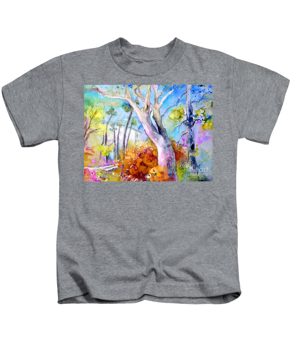 Tarbes Kids T-Shirt featuring the painting Tarbes 02 by Miki De Goodaboom