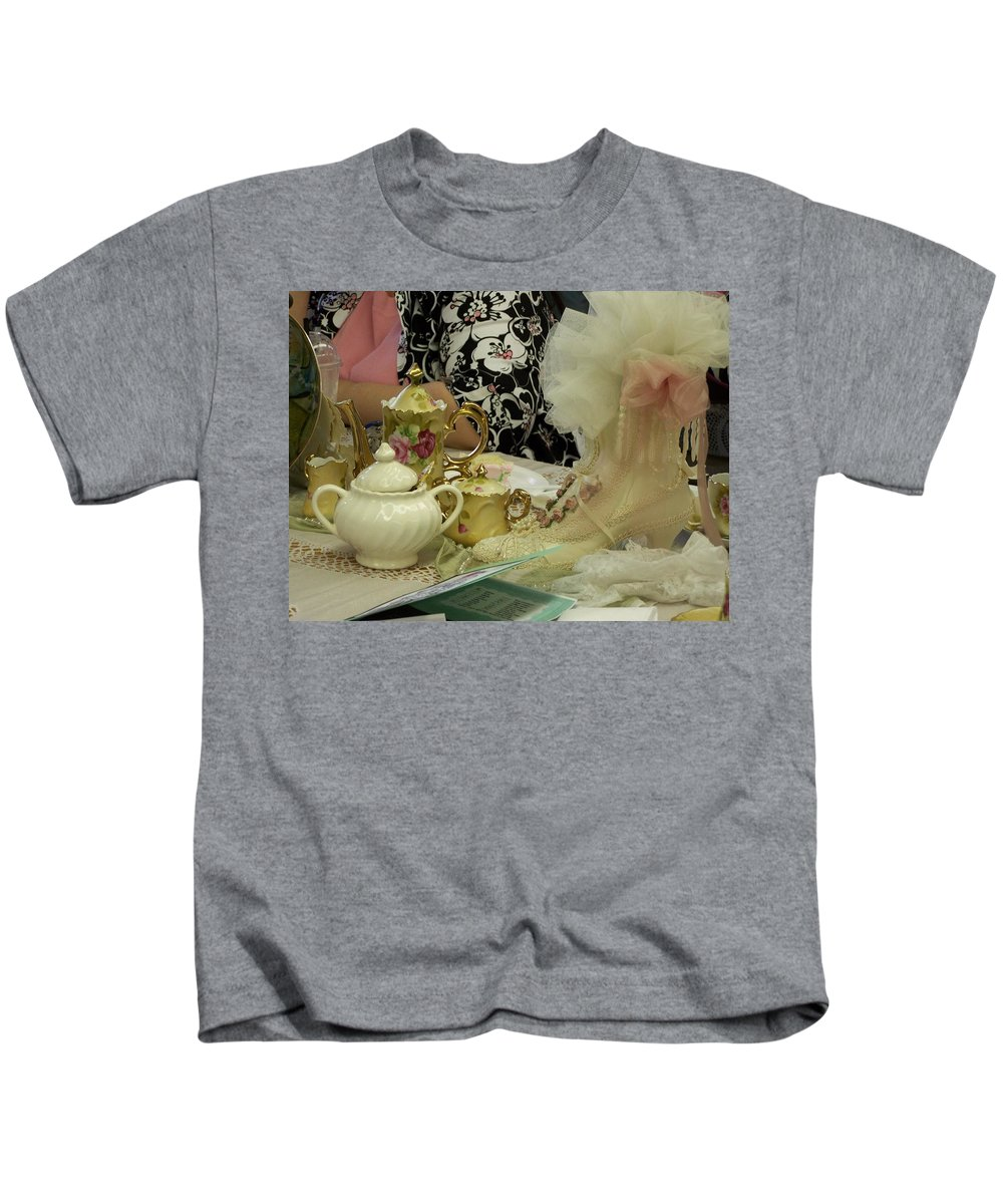 Digital Photography Kids T-Shirt featuring the photograph Tea For Two by Laurie Kidd
