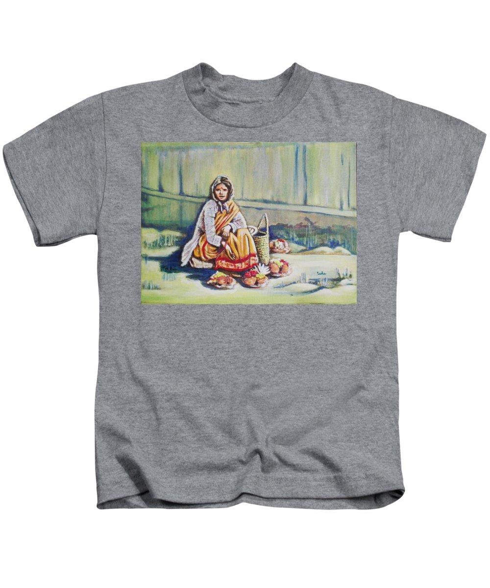 Usha Kids T-Shirt featuring the painting Temple-side Vendor by Usha Shantharam