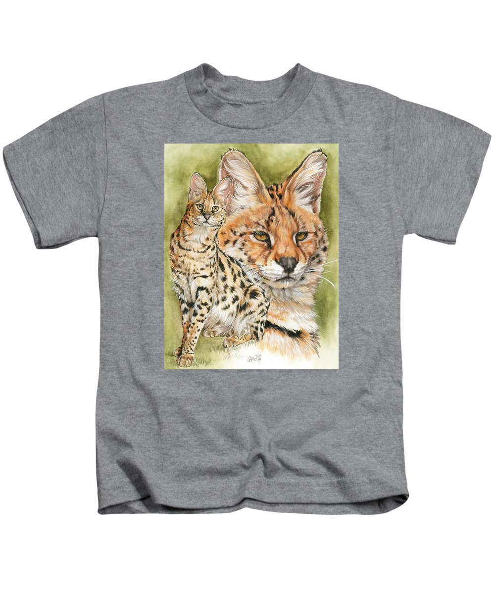 Serval Kids T-Shirt featuring the mixed media Tempo by Barbara Keith