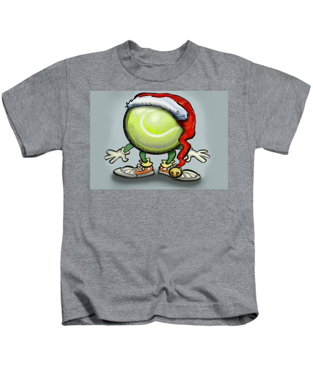 Tennis Kids T-Shirt featuring the greeting card Tennis Christmas by Kevin Middleton